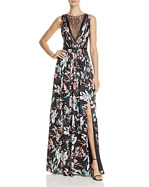 Adrianna Papell Illusion-Bodice Printed Gown