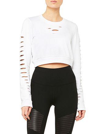 Alo Yoga - Ripped Warrior Crop Sweatshirt