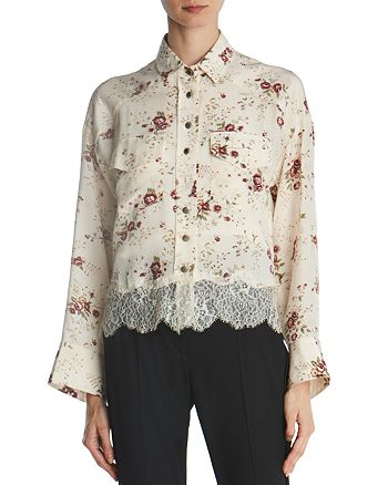 The Kooples - Lace-Trimmed Floral Silk Shirt