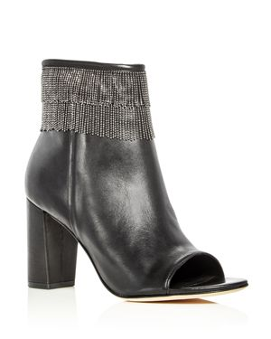 Bernardo Honour Beaded Fringe Open Toe Booties