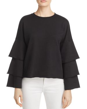 Juicy Couture Black Label French Terry Ruffle-Sleeve Top