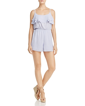 Aqua Sleeveless Ruffle Overlay Romper - 100% Exclusive