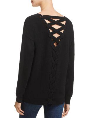 AQUA Cashmere Lace-Up Back Cashmere Sweater - 100% Exclusive in Black