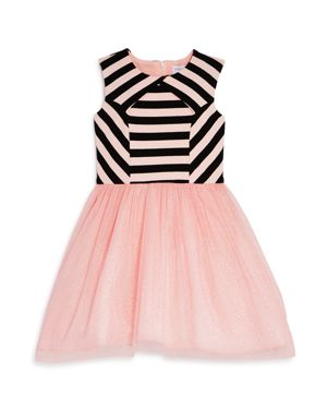 Us Angels Girls' Striped & Sparkle-Mesh Dress, Little Kid - 100% Exclusive thumbnail
