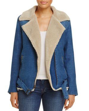 Bella Dahl Faux Shearling Moto Jacket