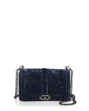 Rebecca Minkoff Love Chevron Quilted Crushed Velvet Crossbody