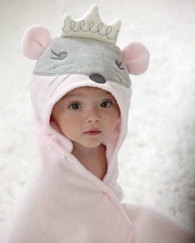 Elegant Baby - Infant Girls' Princess Mouse Hooded Bath Towel