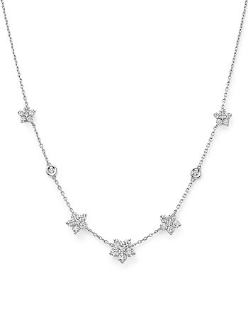 Bloomingdale's - Diamond Flower Station Necklace in 14K White Gold, 1.60 ct. t.w. - 100% Exclusive