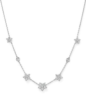 Diamond Flower Station Necklace in 14K White Gold, 1.60 ct. t.w. - 100% Exclusive