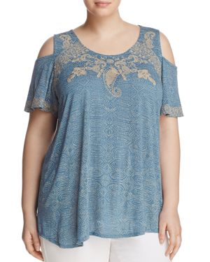 Lucky Brand Plus Embroidered Cold-Shoulder Tee