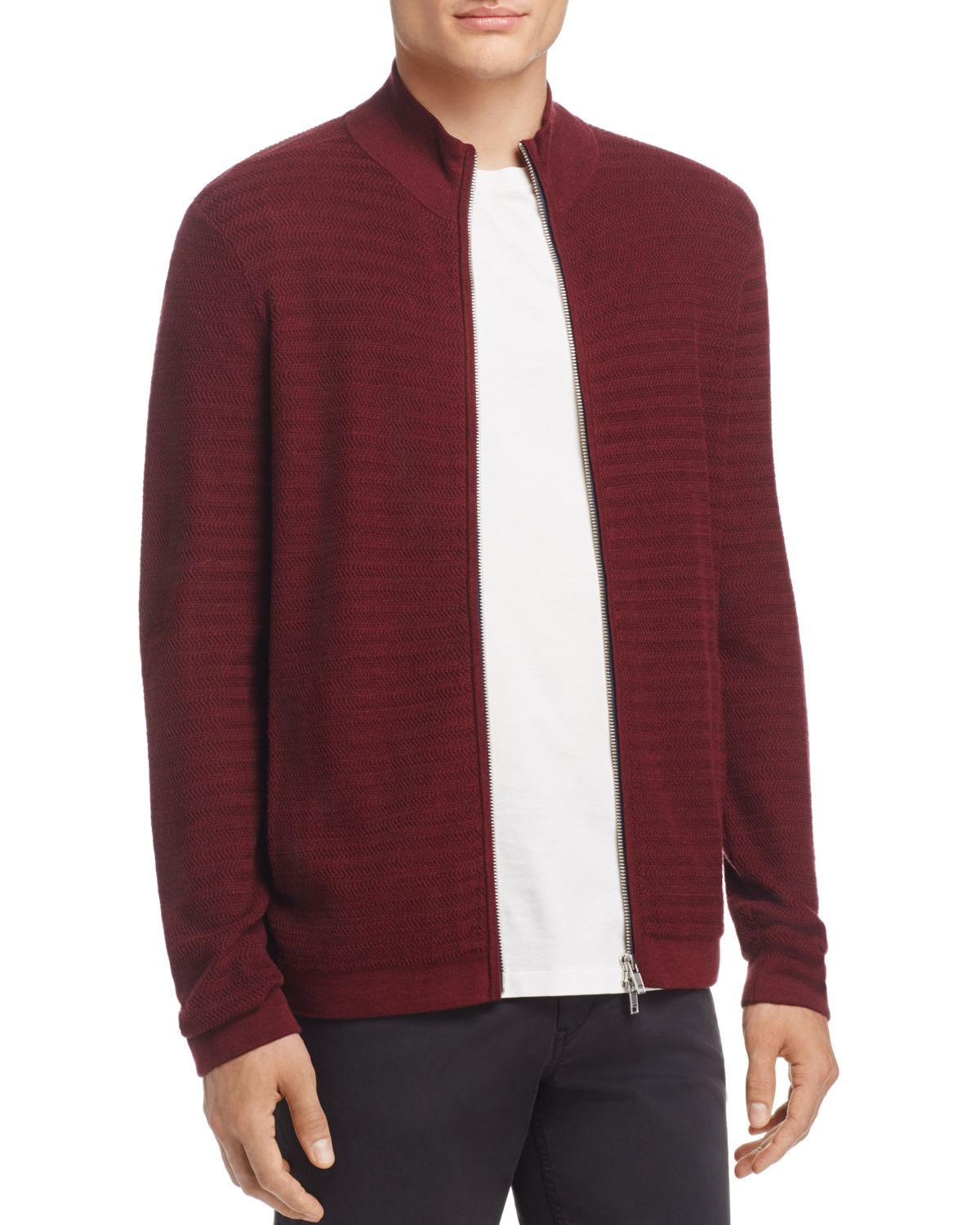 Avell Breach Herringbone Zip Cardigan   100 Percents Exclusive by Theory