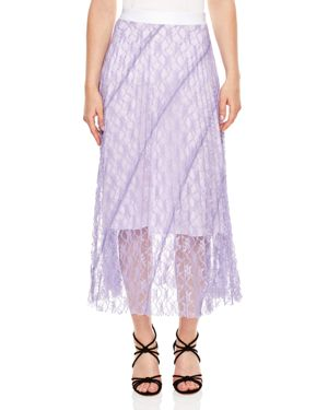 Sandro Babet Stripe-Pattern Lace Skirt