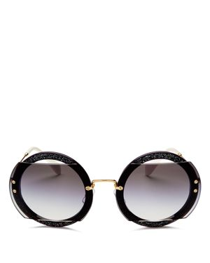 Miu Miu Reveal Evolution Oversized Round Sunglasses, 69mm