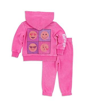 Butter Girls' Sparkle Emoji Embellished Hoodie & Sweatpants Set - Little Kid
