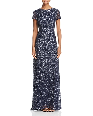 Adrianna Papell Sequin Scoop Back Gown