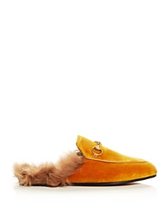 Gucci - Women's Princetown Velvet and Lamb Fur Mules