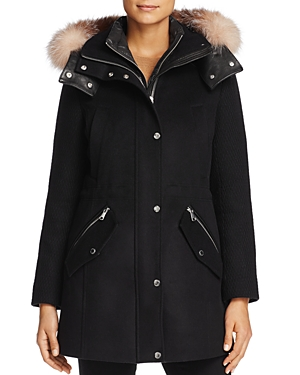 Andrew Marc Brynn Fox Fur Trim Coat