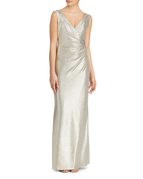 Ralph Lauren Metallic V-Neck Jersey Gown | Bloomingdale\'s