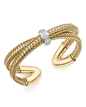Roberto Coin - 18K White and Yellow Gold Primavera Diamond Cuff Bracelet - 100% Exclusive