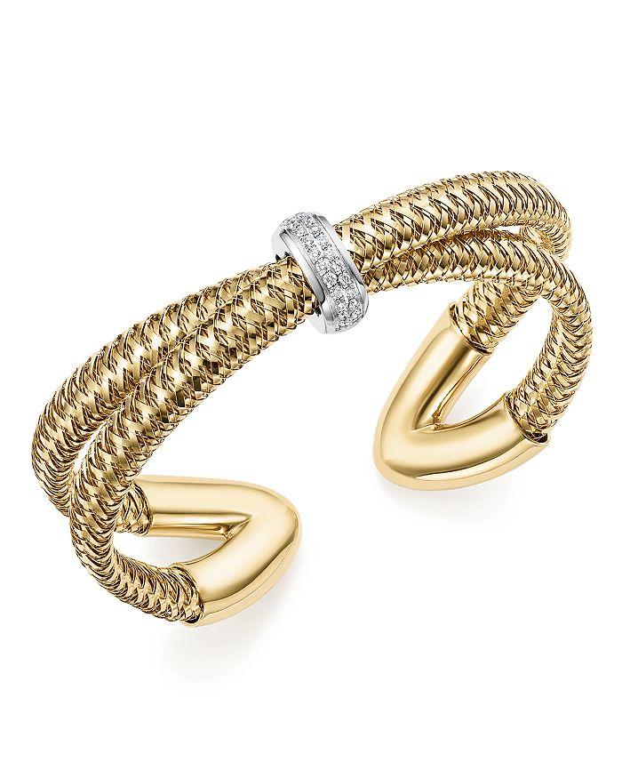 Roberto Coin - 18K White and Yellow Gold Primavera Diamond Cuff Bracelet - 100% Exclusive