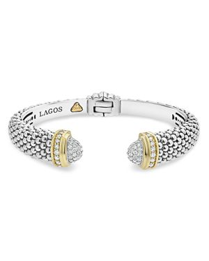 Lagos 18K Gold and Sterling Silver Caviar and Diamonds Cuff, 12mm