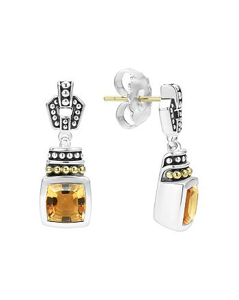 LAGOS - 18K Gold and Sterling Silver Caviar Color Citrine Drop Earrings