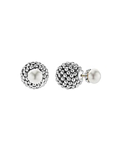 LAGOS - Sterling Silver Signature Caviar Cultured Freshwater Pearl Front-Back Earrings