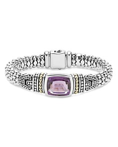 LAGOS - 18K Gold and Sterling Silver Caviar Color Bracelet with Amethyst