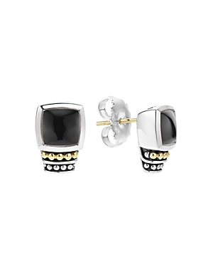 Lagos 18K Gold and Sterling Silver Caviar Color Onyx Stud Earrings