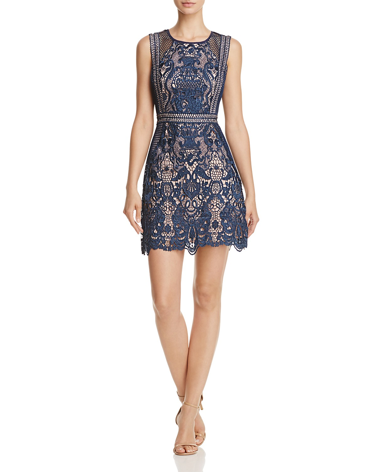 AQUA Fishnet and Lace Dress - 100% Exclusive | Bloomingdale\'s