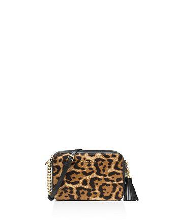 Ginny Medium Leopard Print Calf Hair Camera Black Leather