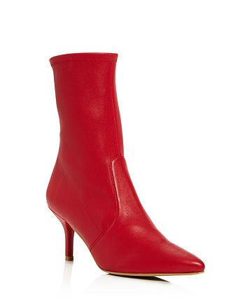 Stuart Weitzman - Cling Leather Stretch Sock Booties