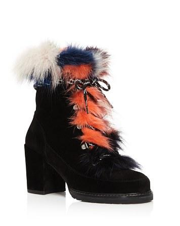 $Stuart Weitzman Yukon Mink Fur and Suede Lace Up Booties - Bloomingdale's
