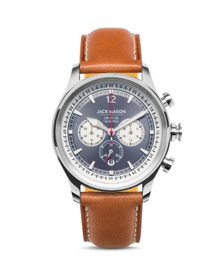 JACK MASON Nautical Chronograph Leather Strap Watch, 42Mm in Grey/ Tan