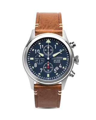 JACK MASON Chronograph Leather Strap Watch, 42Mm in Navy/ Silver/ Saddle