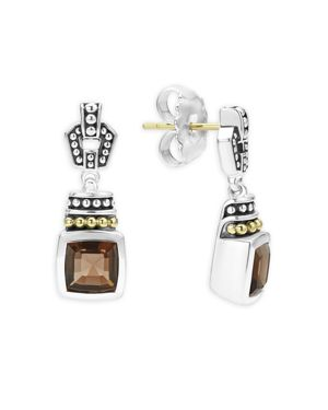 Lagos 18K Gold and Sterling Silver Caviar Color Smoky Quartz Drop Earrings