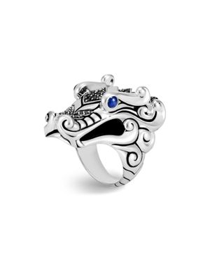 John Hardy Sterling Silver Naga Ring with Black Sapphire, Black Spinel and Blue Sapphire Eyes