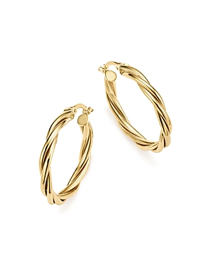 14K Yellow Gold Twisted Wire Hoop Earrings - 100% Exclusive
