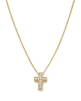 "Roberto Coin - 18K Yellow Gold Tiny Treasures Diamond Cross Pendant Necklace, 17"""