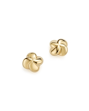 14K Yellow Gold Puffed Twist Stud Earrings