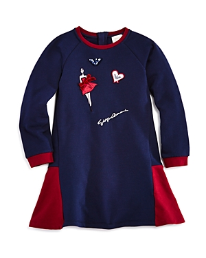 Armani Junior Girls' Logo Patches Drop-Waist Sweatshirt Dress - Little Kid, Big Kid