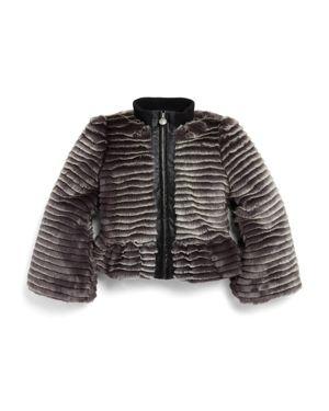 Armani Junior Girls' Faux-Fur Peplum Jacket - Little Kid, Big Kid