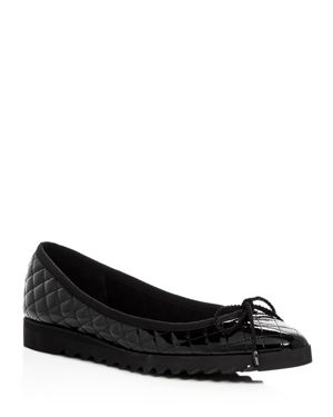 Paul Mayer Women's Lido London Quilted Patent Leather Ballet Flats