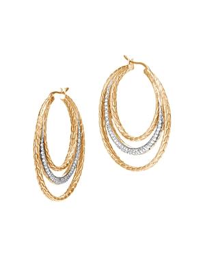 John Hardy 18K Yellow Gold Classic Chain Pave Diamond Medium Hoop Earrings