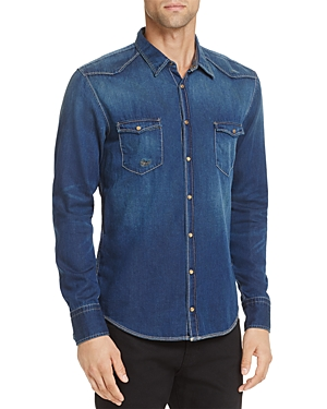 Boss Orange Erodeo Indigo Garment Washed Long Sleeve Denim Shirt