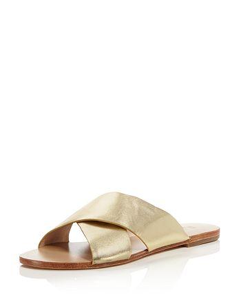 Raye - Women's Sullivan Gold Leather Slide Sandals