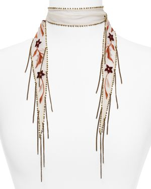 Chan Luu Star Floral Embroidered Skinny Scarf 2690303