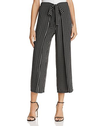AQUA - Tie-Front Striped Culottes - 100% Exclusive