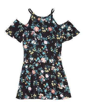 AQUA - Girls' Floral Cold-Shoulder Dress, Big Kid - 100% Exclusive
