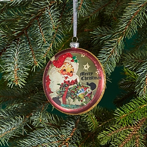 Bloomingdale's Glass Santa Disk Ornament - 100% Exclusive